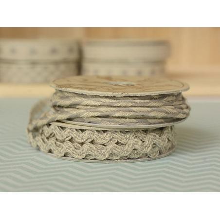 "Bobine 2m de ruban gros grain en lin ""serpentine"" 7 mm - gris 131"
