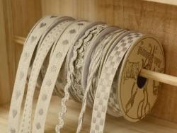 Grosgrain linen ribbon spool (2 m) - Rickrack (7 mm) - grey (colour no. 131)