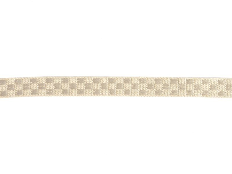 Woven Grosgrain linen ribbon spool (2 m) - chequerboard pattern (10 mm) - beige (colour no. 331)