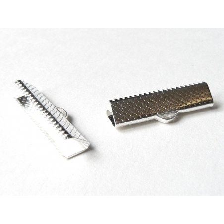Ribbon crimp end for bias bindings, 25 mm - silver-coloured