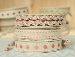 Grosgrain linen ribbon spool (2 m) - Rickrack (7 mm) - pink (colour no. 177)