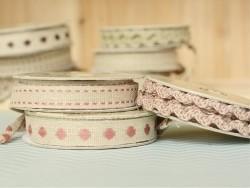Rolle gewebtes Ripsband (2 m) aus Leinen - Striche (10 mm) - rosa (Farbnr. 177)