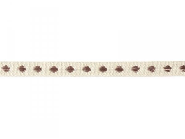 """Bobine 2m de ruban gros grain en lin tissé """"pois"""" 10 mm - marron 160  - 1"""