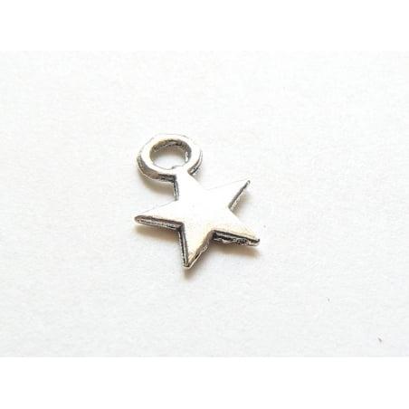 1 Breloque petite étoile - couleur argent  - 1
