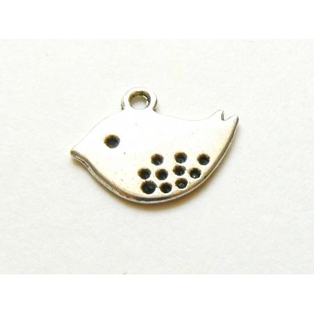 1 bird charm - light silver-coloured