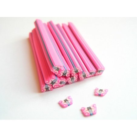 Acheter Cane papillon rose fluo - en pâte fimo - 0,99€ en ligne sur La Petite Epicerie - Loisirs créatifs