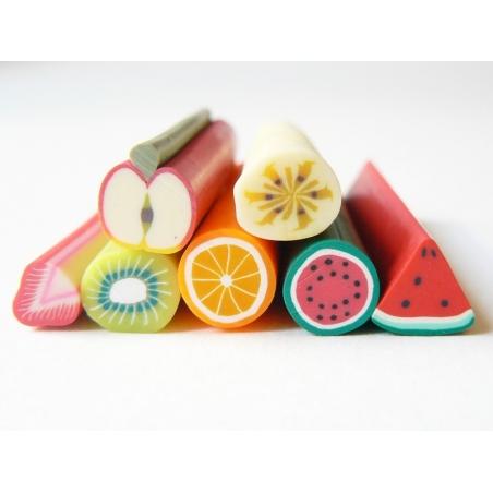 Lot de 7 grosses canes fimo fruits  - 1