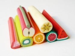 Lot de 7 grosses canes fimo fruits