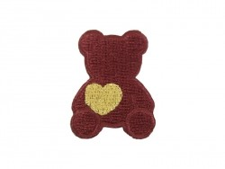 Iron-on patch - Bear with a heart - Burgundy