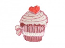 Ecusson thermocollant Grand cupcake coeur