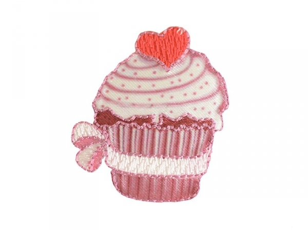 Iron-on patch - Big cupcake with a heart