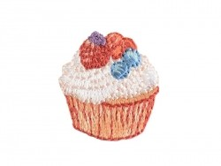Iron-on patch - Small cupcake with wild berries