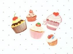 Ecusson thermocollant Petit cupcake cerise