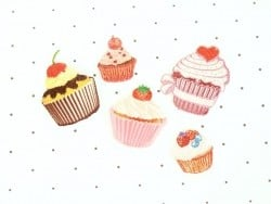 Iron-on patch - Small cupcake with a cherry