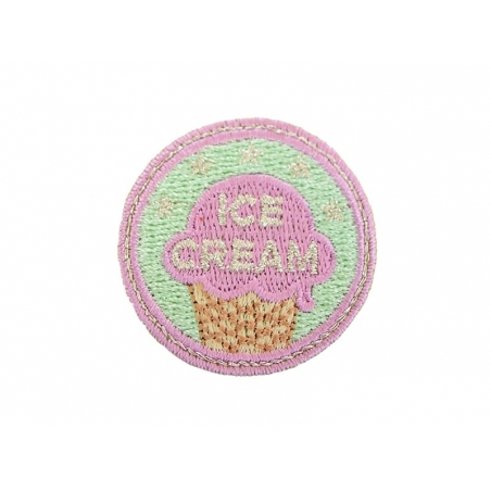 "Iron-on patch/badge - ""Ice-cream"" - green"