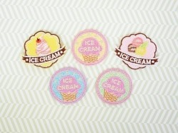 "Ecusson thermocollant badge ""Ice Cream"" - Bleu"
