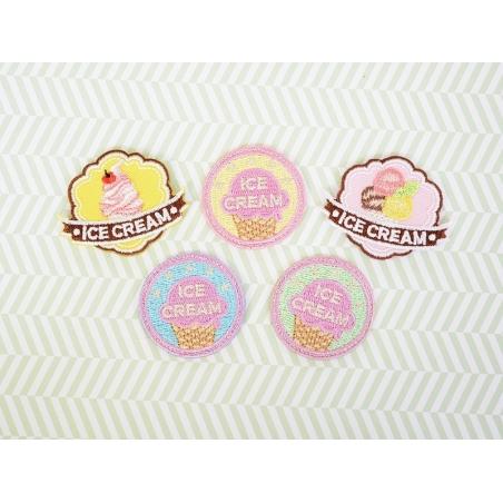 """Ecusson thermocollant badge """"Ice Cream"""" - Jaune"""