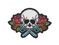 Ecusson thermocollant tatouage - Tête de mort et pistolet