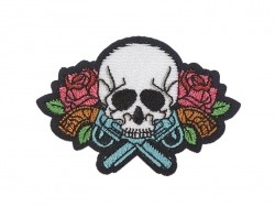 Iron-on patch - Tattoo design - Skull and pistol