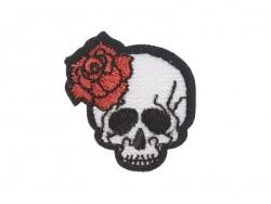 Ecusson thermocollant tatouage - Tête de mort et rose