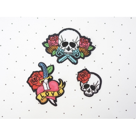 Iron-on patch - Tattoo design - Skull and rose