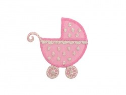 Iron-on patch - Pushchair - Pink