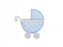 Iron-on patch - blue pushchair