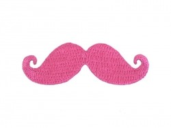 Iron-on patch - pink moustache