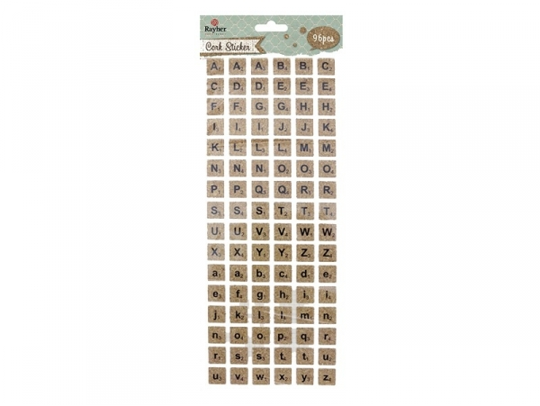 Square cork stickers - alphabet