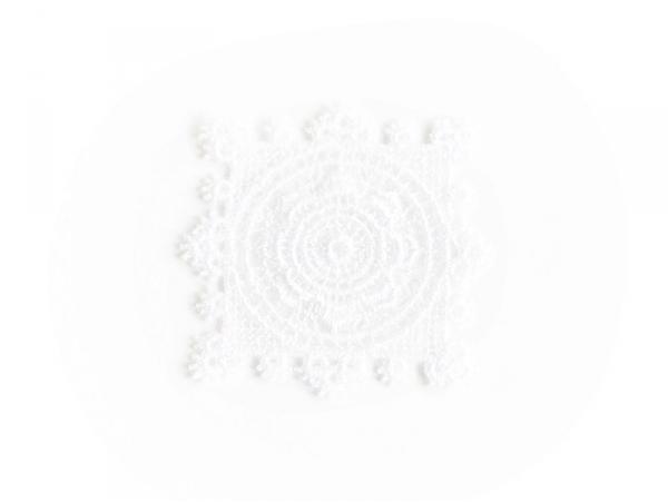 Ecusson thermocollant carré de dentelle - Blanc  Mediac - 1