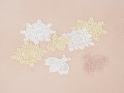 Iron-on patch - Lace star - beige