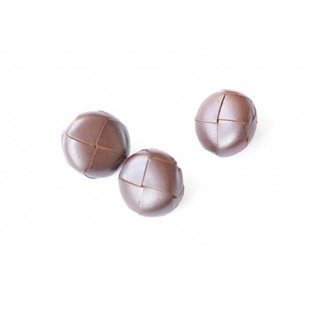 Leather button (24 mm) - Mahogany