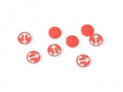 1 Knopf mit einem weißem Anker auf rotem Hintergrund