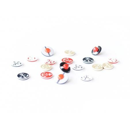 1 Bouton Ancre marine blanche sur fond rouge