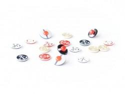 1 Bouton Ancre marine rouge sur fond blanc