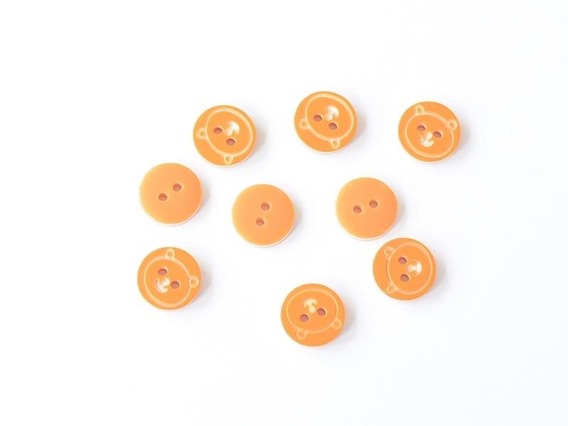 1 Bouton rond 12 mm Ourson - Orange