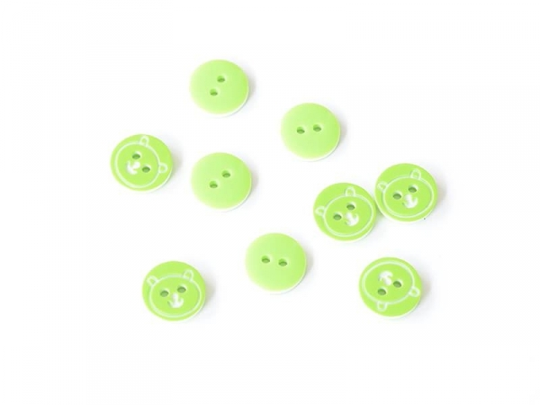 1 round teddy-printed button (12 mm) - Green