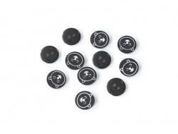 1 Bouton rond 12 mm Ourson - Noir