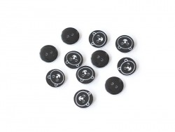 1 round teddy-printed button (12 mm) - Black