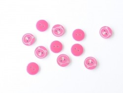1 Bouton rond 12 mm Ourson - Rose fushia