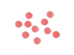 Plastic button (8 mm) with 4 buttonholes - Poppy red