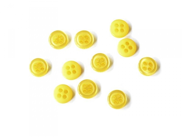 Plastic button (8 mm) with 4 buttonholes - Yellow