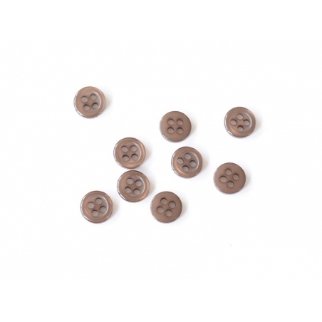 Plastic button (8 mm) with 4 buttonholes - Brown
