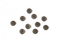 Plastic button (8 mm) with 4 buttonholes - Khaki