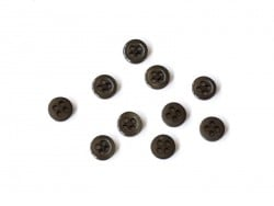 Plastic button (8 mm) with 4 buttonholes - Chocolate brown