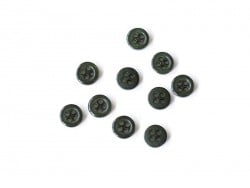 Plastic button (8 mm) with 4 buttonholes - Fir green