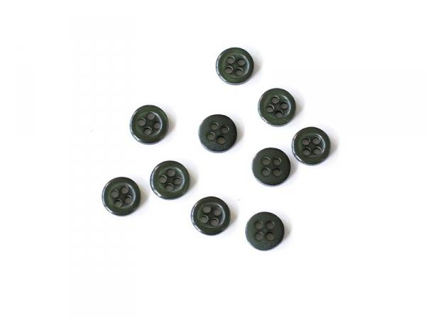 Plastic button (8 mm) with 4 buttonholes - Fir green