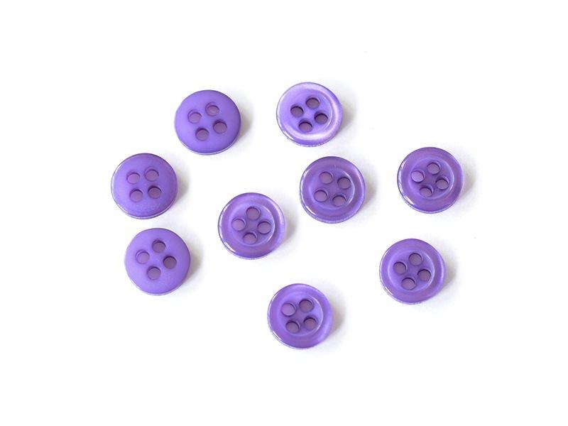 Bouton plastique 4 trous 8 mm - Violet
