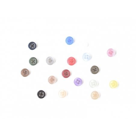 Plastic button (8 mm) with 4 buttonholes - White