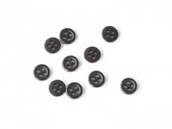 Plastic button (8 mm) with 4 buttonholes - Black
